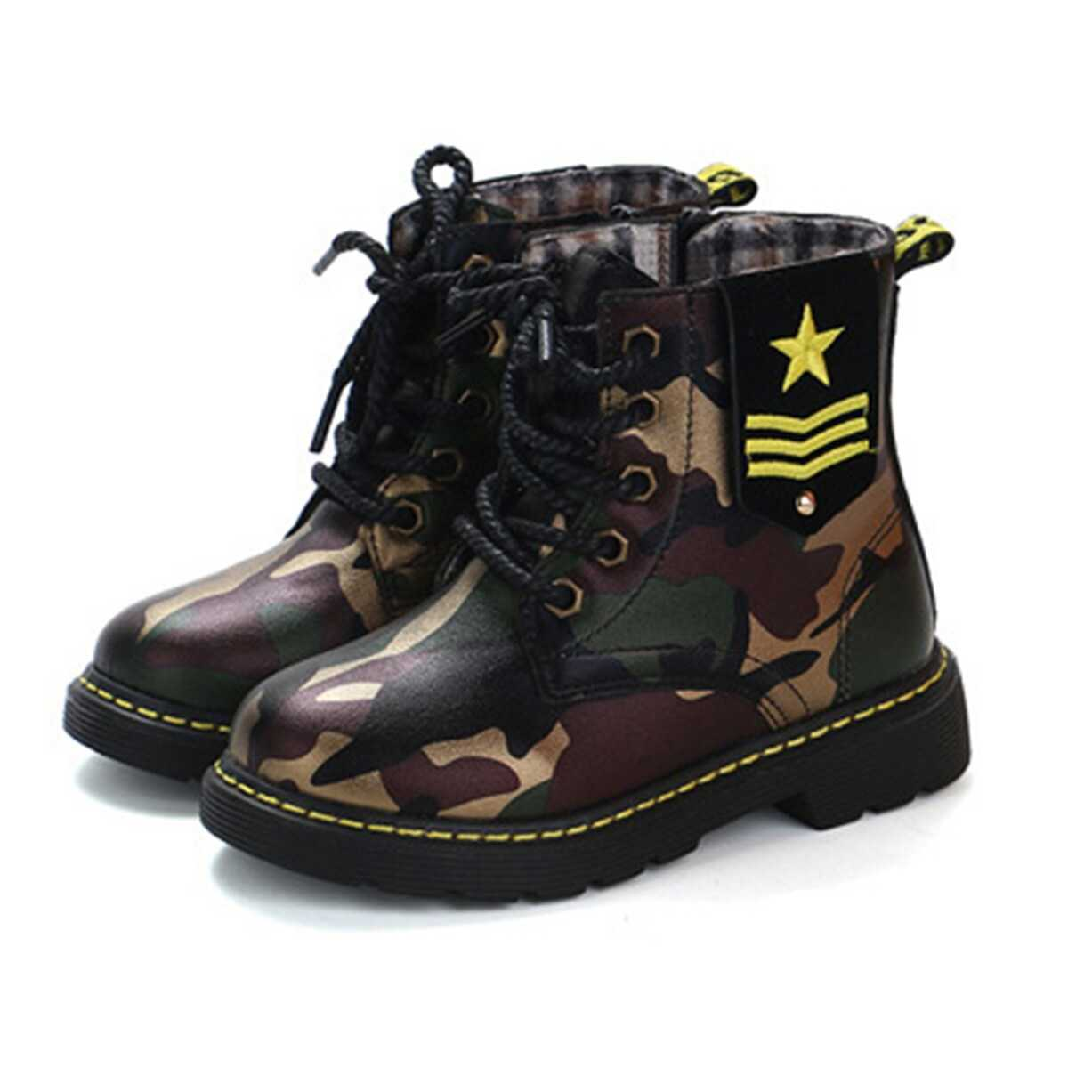 Toddler Kids Camouflage Lace-up Ankle Boots - Shein - GOOFASH