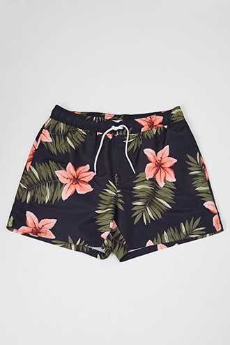 Tropical Print Swim Trunks at Forever 21 Black/coral - GOOFASH