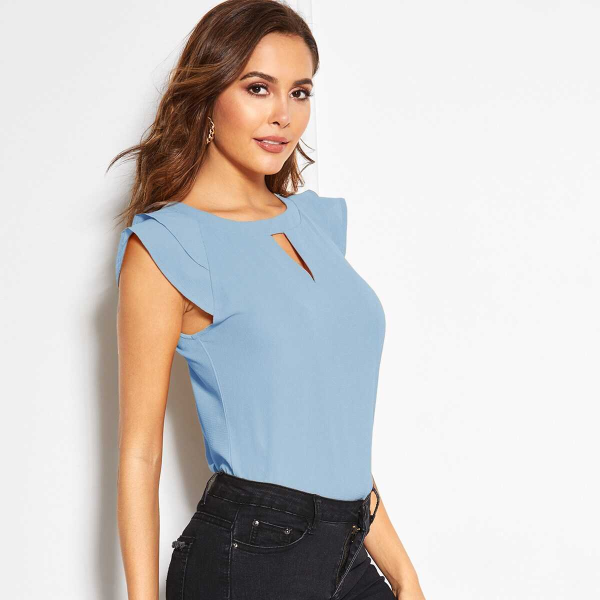 V-cut Neck Layer Cuff Keyhole Back Blouse - Shein - GOOFASH