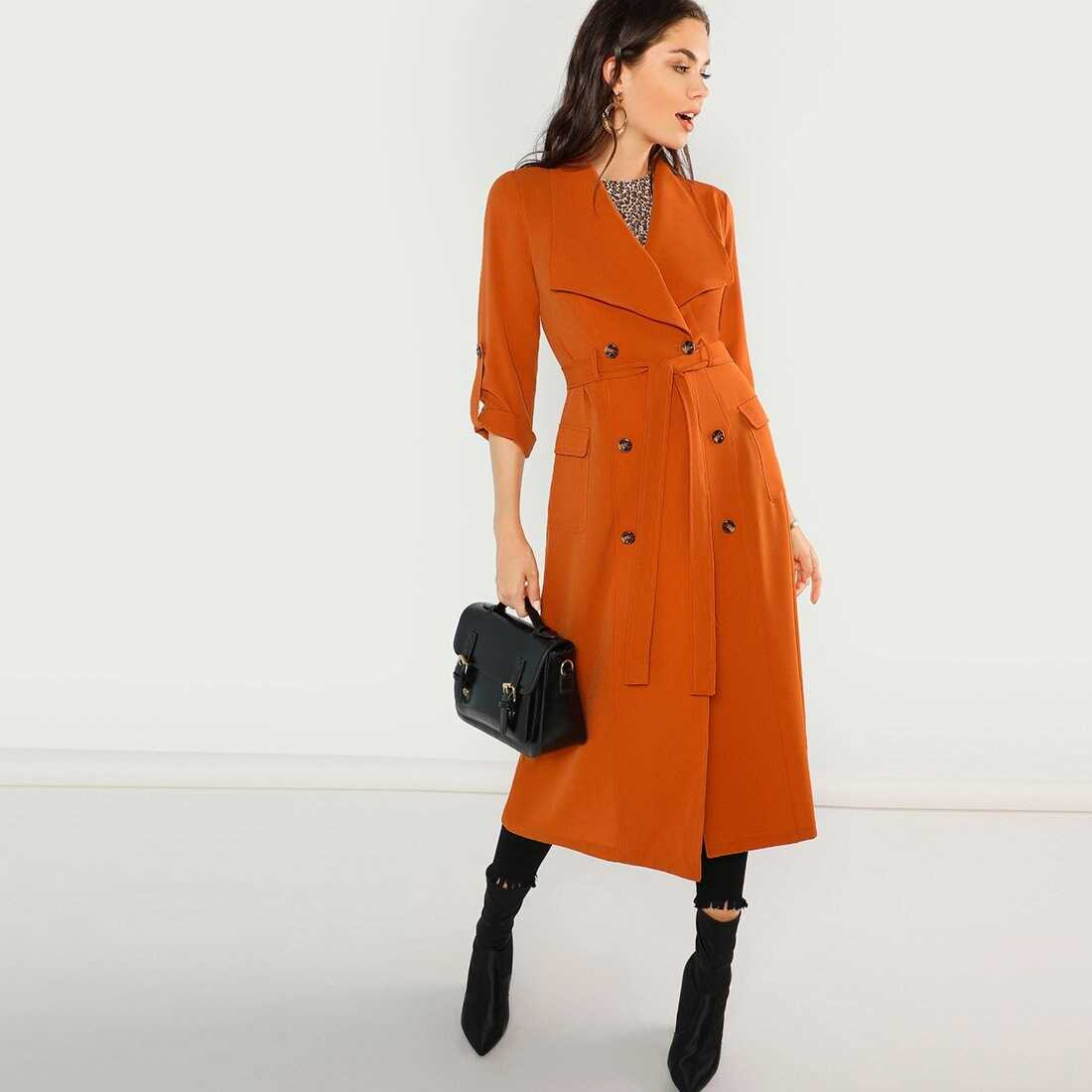 Waist Belted Double Breasted Waterfall Coat - Shein - GOOFASH