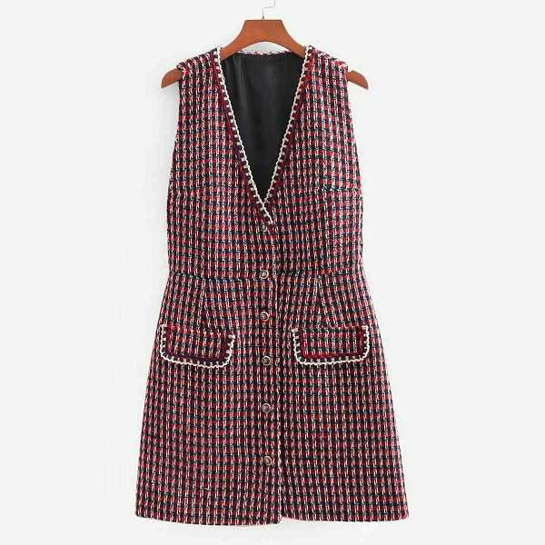 Whipstitch Trim Button Through Tweed Dress - Shein - GOOFASH