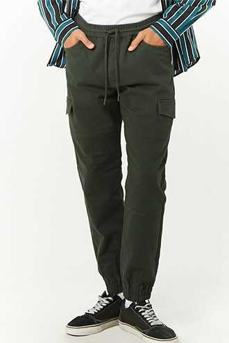 Woven Drawstring Joggers at Forever 21  Olive - GOOFASH