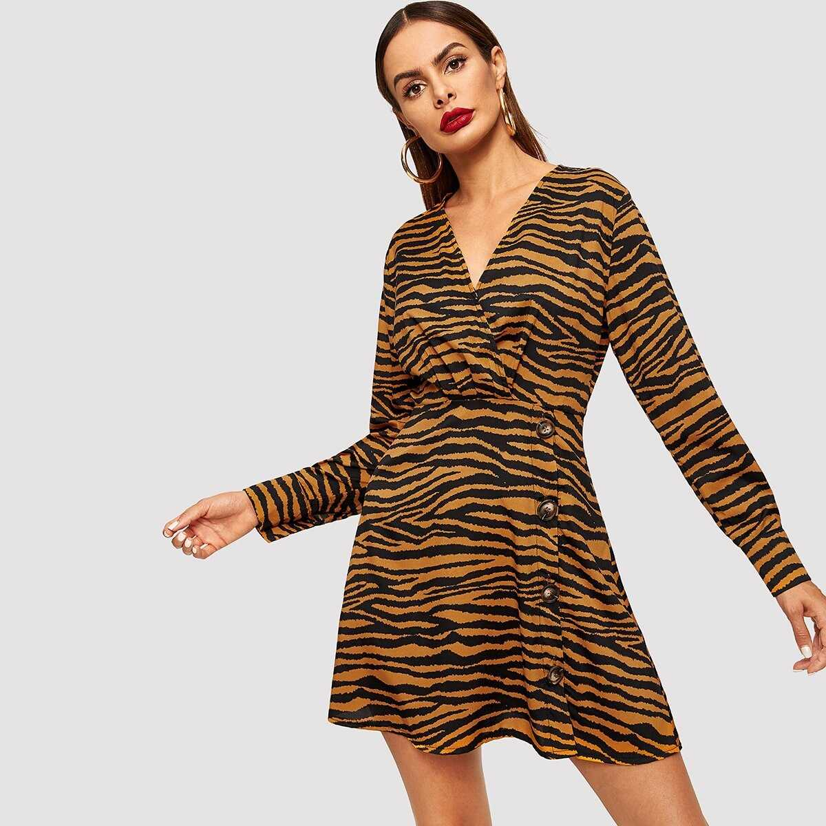 Zebra Print Single Breasted Wrap Dress - Shein - GOOFASH