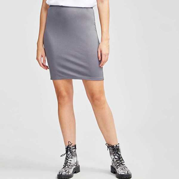 Zip Back Slit Hem Solid Skirt - Shein - GOOFASH