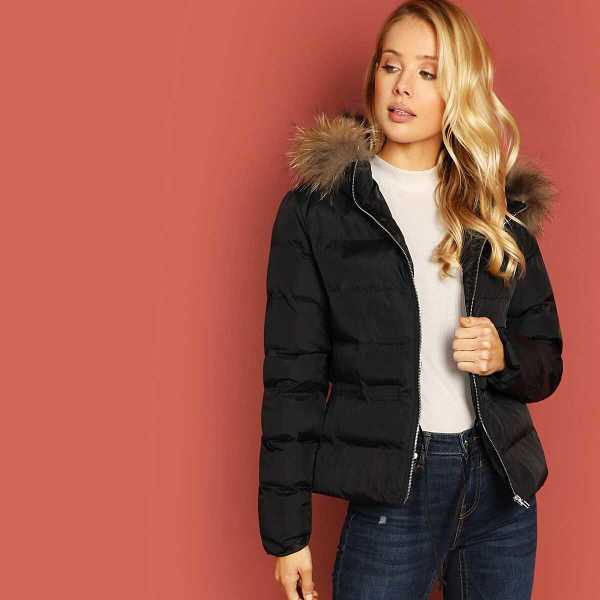 Zip Up Contrast Faux Fur Hooded Padded Coat - Shein - GOOFASH