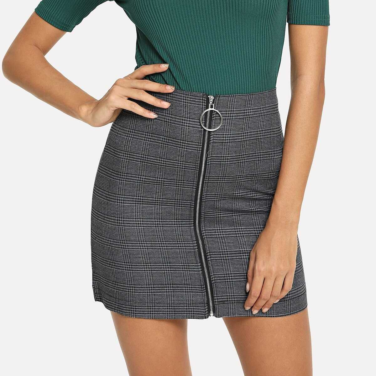 Zip Up Front Checked Skirt - Shein - GOOFASH