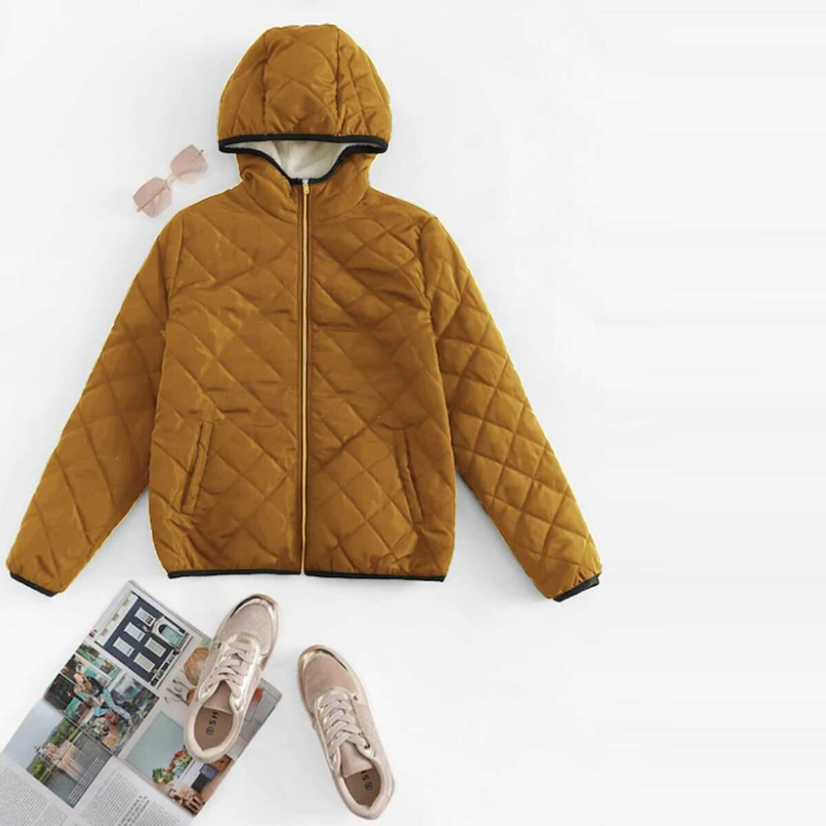 Zip Up Hooded Quilted Coat - Shein - GOOFASH