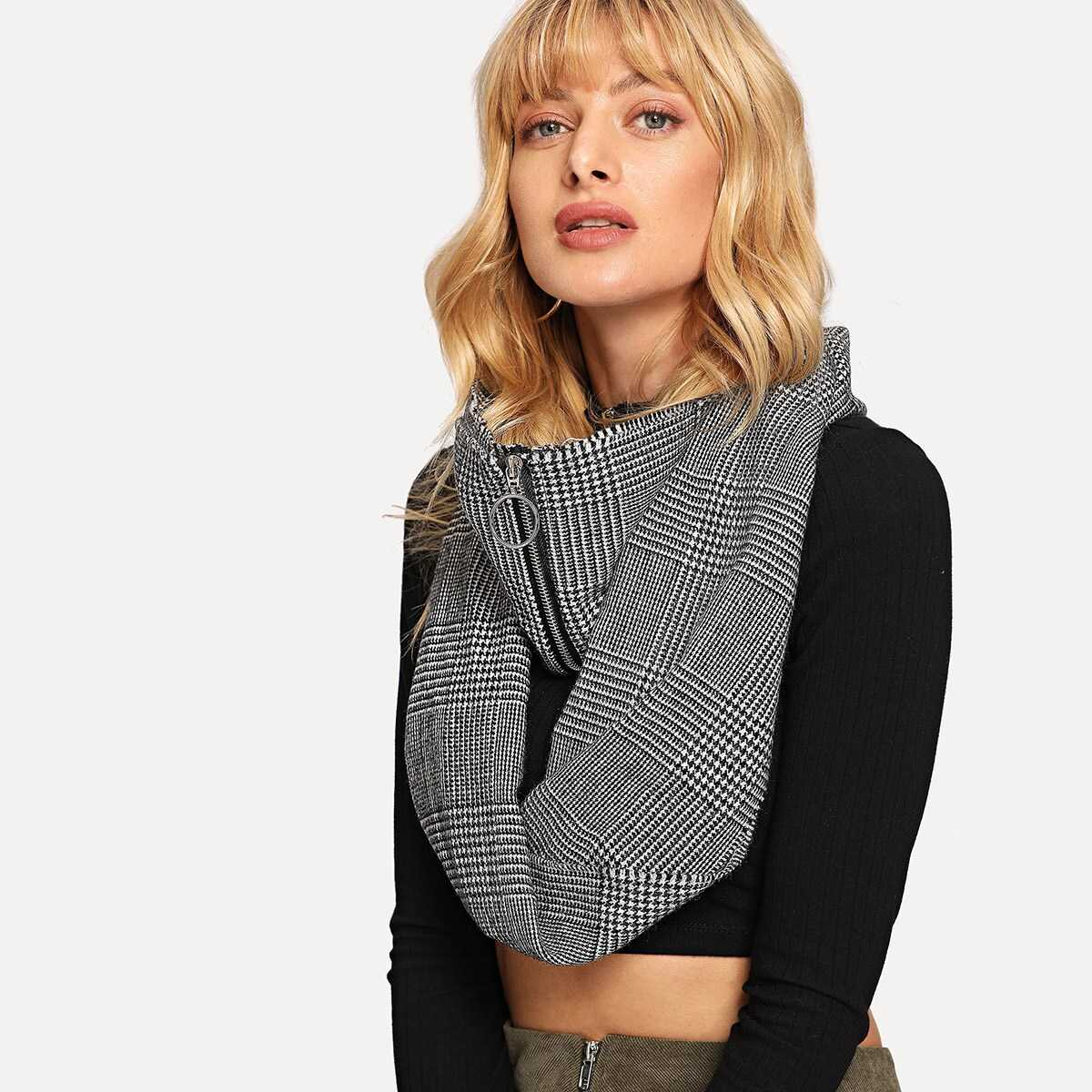 Zipper Decorated Houndstooth Infinity Scarf - Shein - GOOFASH