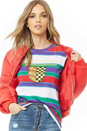 Forever 21 England Graphic Striped Tee  Purple/red - GOOFASH