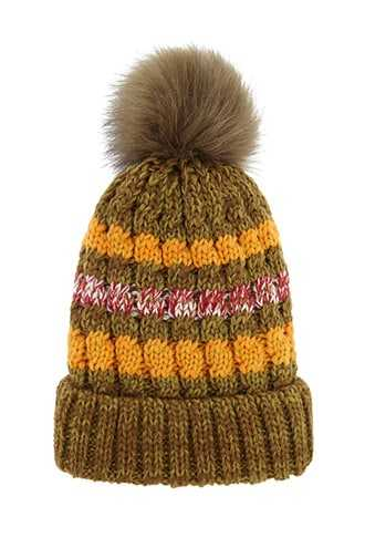 Forever 21 Faux Fur-Lined Foldover Beanie  Olive/multi - GOOFASH