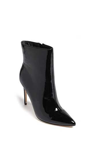 Forever 21 Faux Patent Leather Booties  Black - GOOFASH
