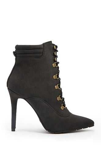 Forever 21 Lace-Up Stiletto Booties  Black - GOOFASH