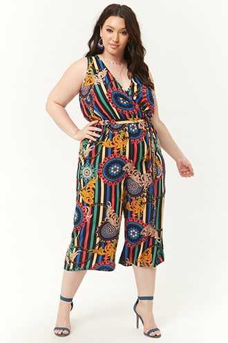 Forever 21 Plus Size Striped Brocade Jumpsuit  Royal/turquoise - GOOFASH