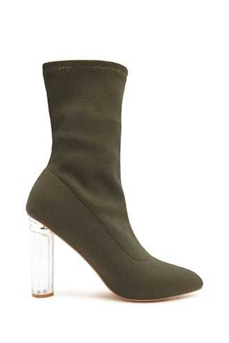 Forever 21 Pointed Toe Sock Boots  Olive - GOOFASH