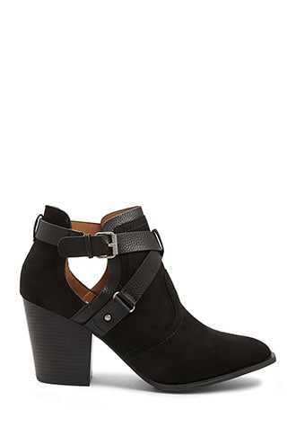 Forever 21 Strappy Faux Suede Booties  Black - GOOFASH