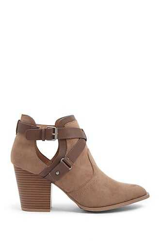 Forever 21 Strappy Faux Suede Booties  Taupe - GOOFASH