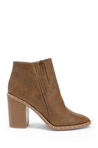 Forever 21 Yoki Studded Faux Leather Booties  Beige - GOOFASH