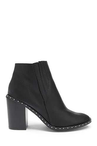 Forever 21 Yoki Studded Faux Leather Booties  Black - GOOFASH