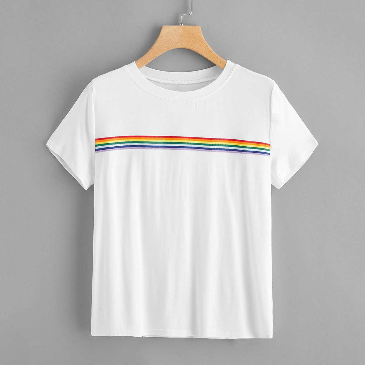1Plus1 Girls Rainbow Striped Tee in White by ROMWE on GOOFASH