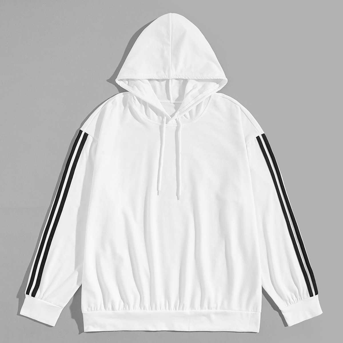 1Plus1 Guys Contrast Striped Tape Hooded Sweatshirt in White by ROMWE on GOOFASH