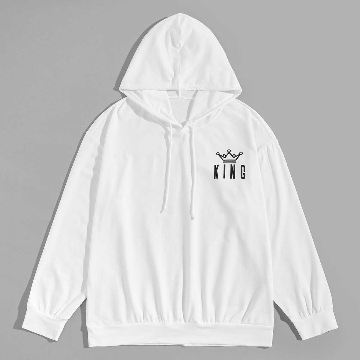 1Plus1 Guys Letter And Geo Print Hooded Sweatshirt in White by ROMWE on GOOFASH