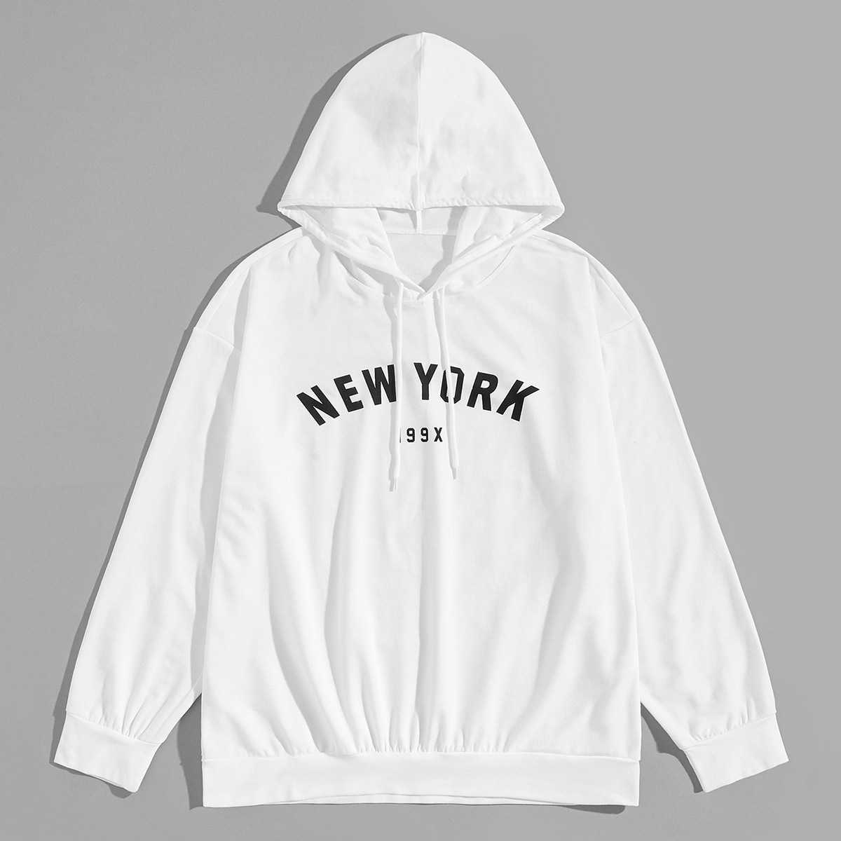 1Plus1 Guys Letter Print Hooded Sweatshirt in White by ROMWE on GOOFASH