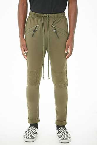 American Stitch Ankle-Zip Moto Joggers at Forever 21  Olive - GOOFASH