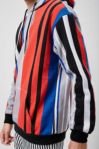 American Stitch Striped Hoodie at Forever 21  Grey/multi - GOOFASH