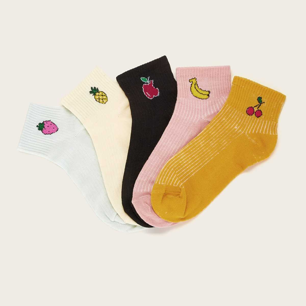 Apple & Banana Pattern Ankle Socks 5pairs in Multicolor by ROMWE on GOOFASH