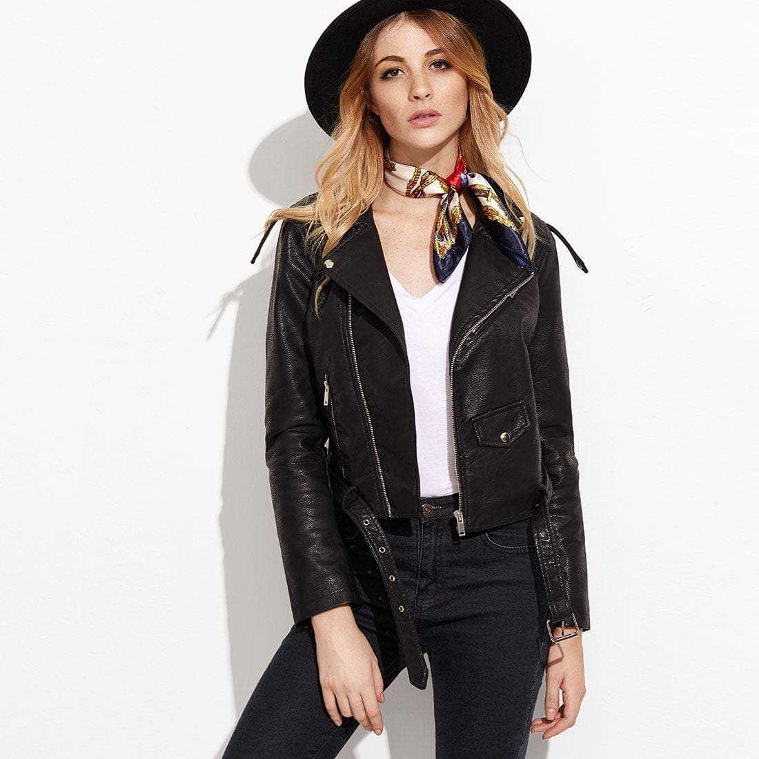 BLack Faux Leather Belted Moto Jacket With Zipper in Black by ROMWE on GOOFASH