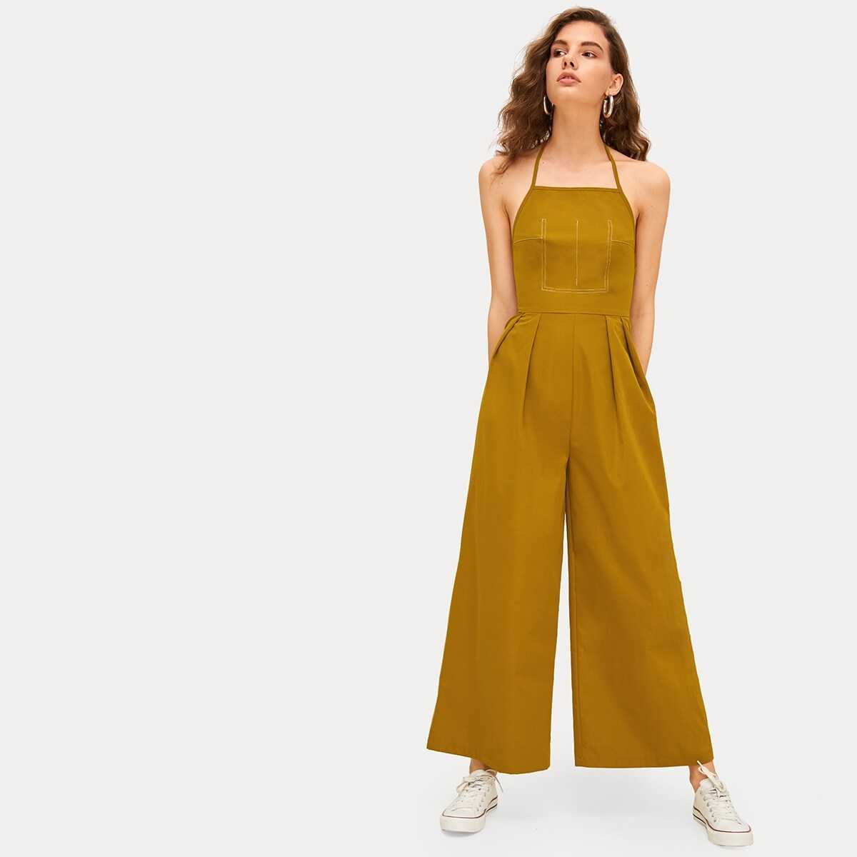 Backless Wide Leg Halter Jumpsuit in Yellow by ROMWE on GOOFASH