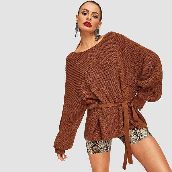 Balloon Sleeve Belted Sweater in Brown by ROMWE on GOOFASH