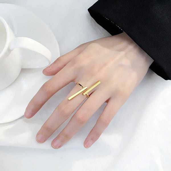 Bar Design Ring Cuff 1pc in Gold by ROMWE on GOOFASH