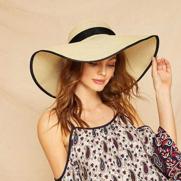 Big Bow Decor Contrast Trim Floppy Hat in Beige by ROMWE on GOOFASH
