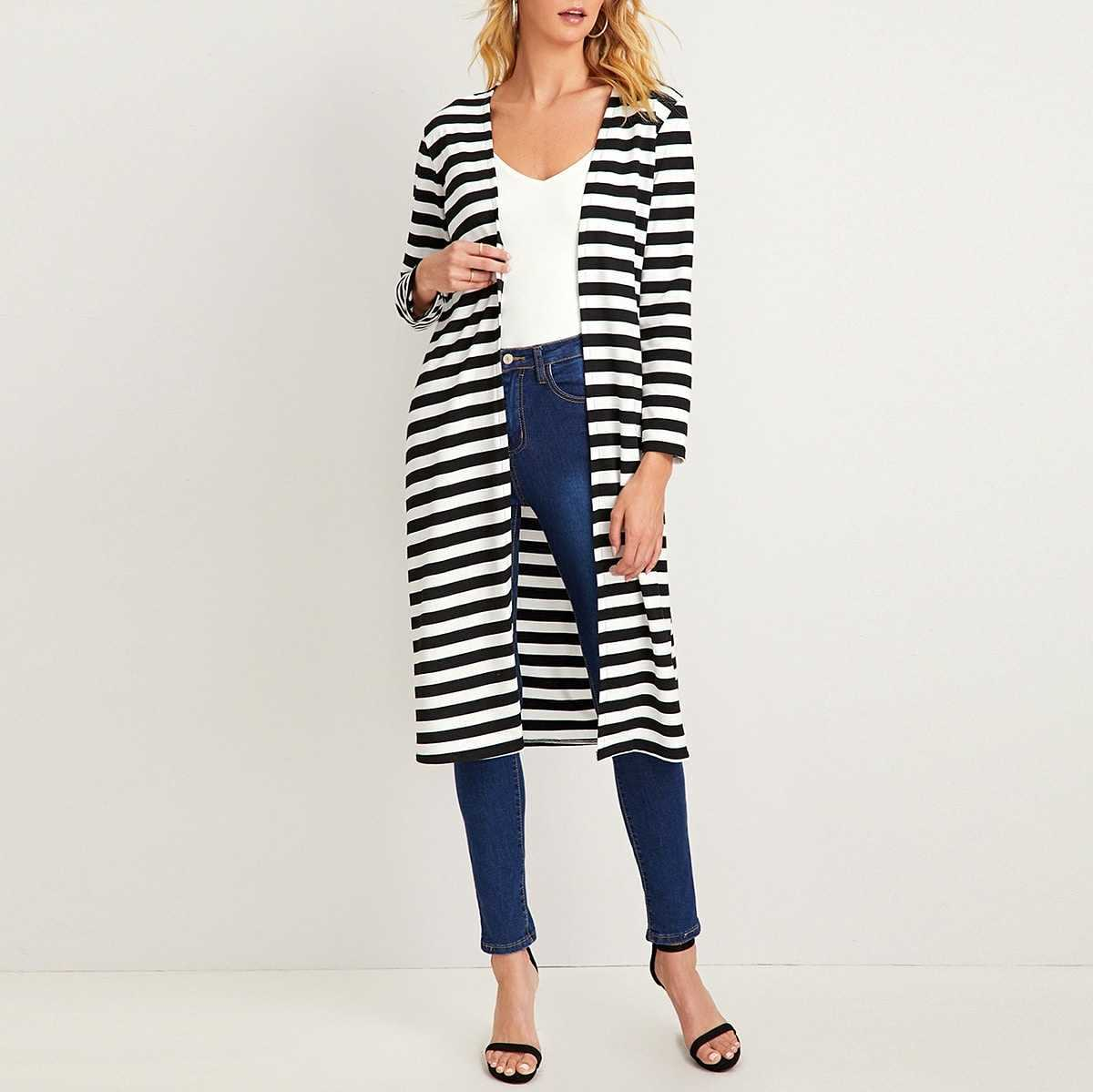 Black And White Striped Longline Cardigan in Black and White by ROMWE on GOOFASH