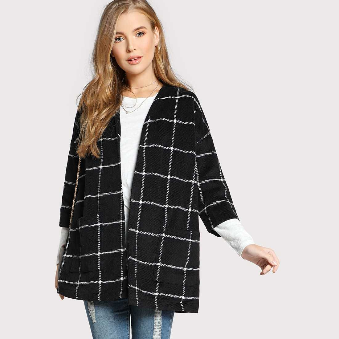 Black Grid Collarless Open Front Coat With Pocket in Black by ROMWE on GOOFASH