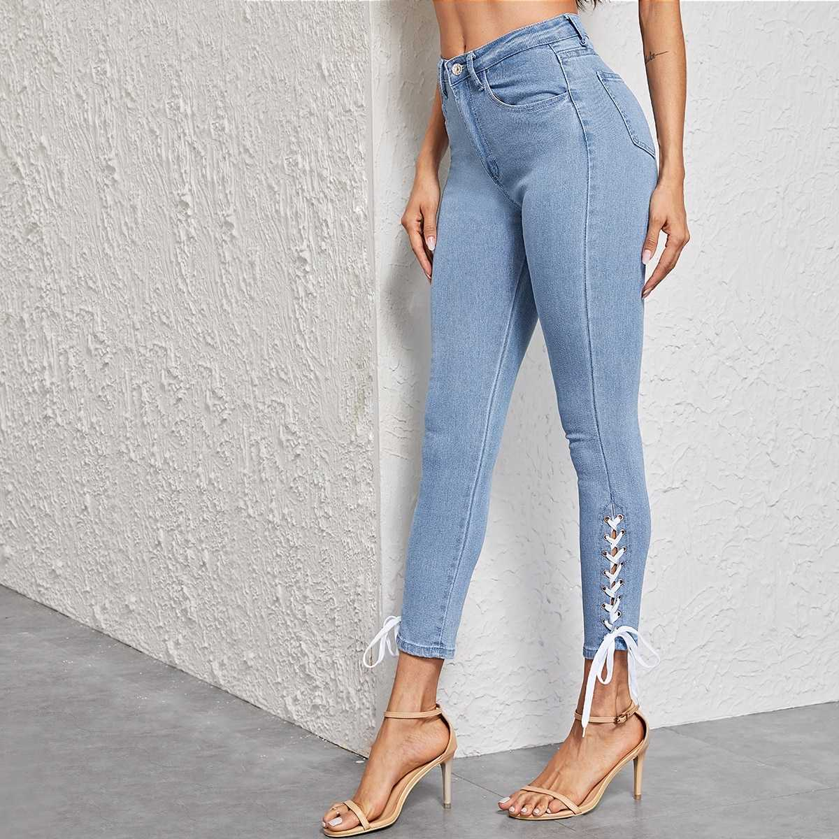 Bleach Wash Lace Up Detail Skinny Jeans in Blue by ROMWE on GOOFASH