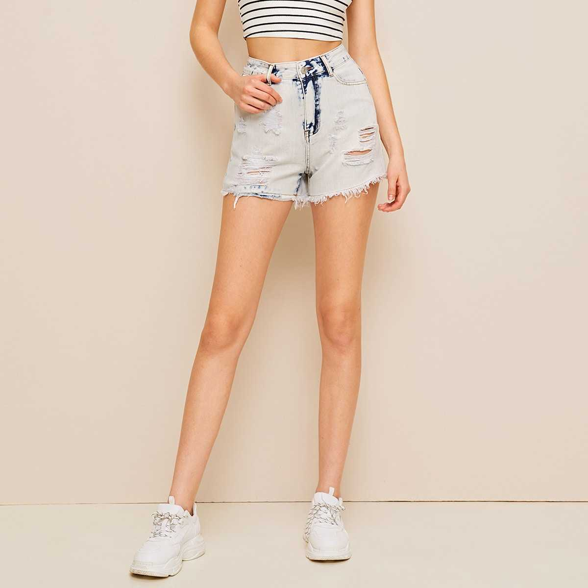 Bleached Wash Ripped Raw Hem Denim Shorts in Blue by ROMWE on GOOFASH