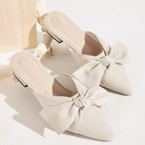 Bow Decor Suede Flat Mules in Beige by ROMWE on GOOFASH