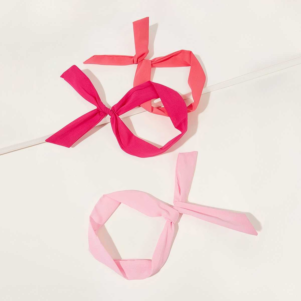 Bow Knot Decor Headband 3pcs in Multicolor by ROMWE on GOOFASH