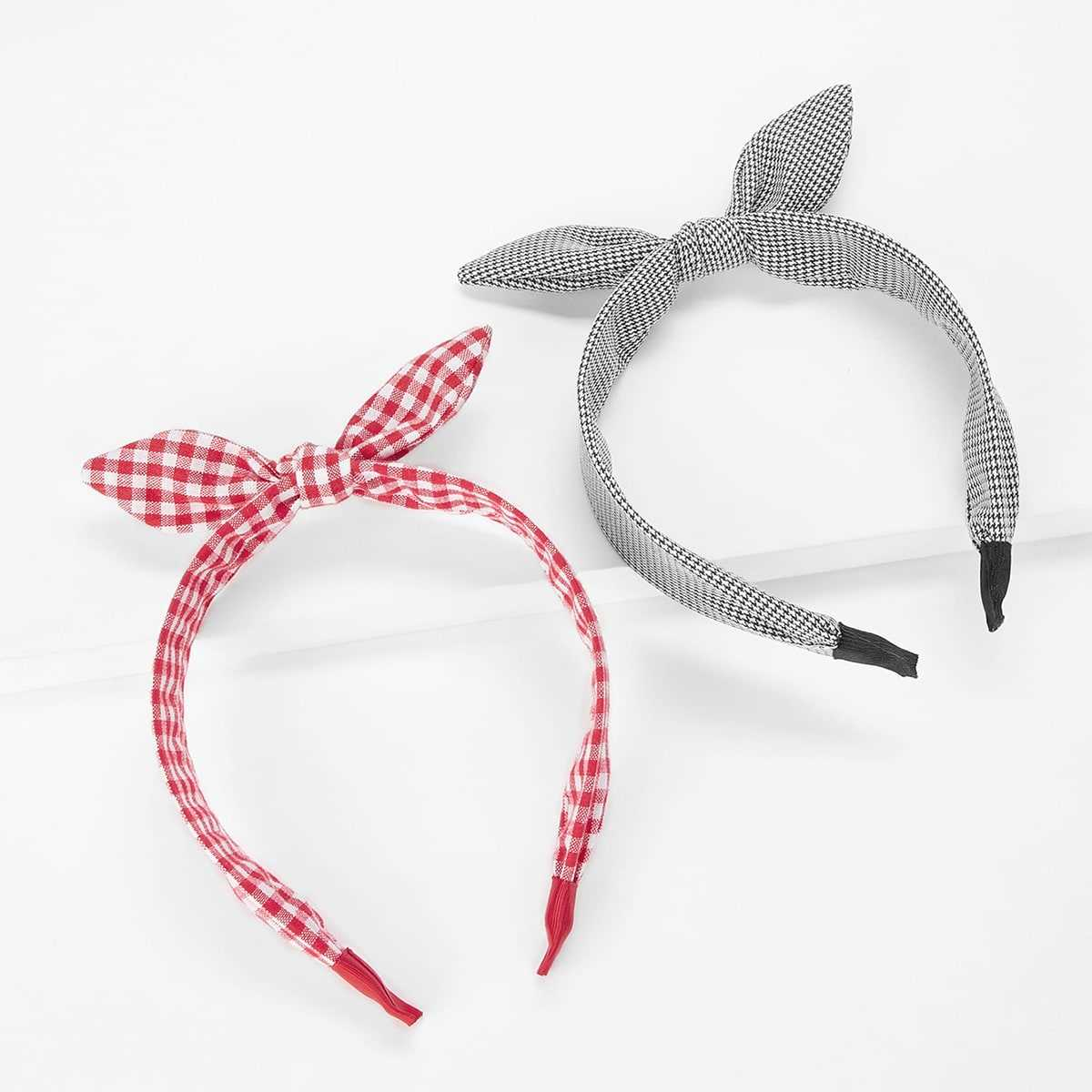 Bow Tie Plaid Headband 2pcs in Multicolor by ROMWE on GOOFASH