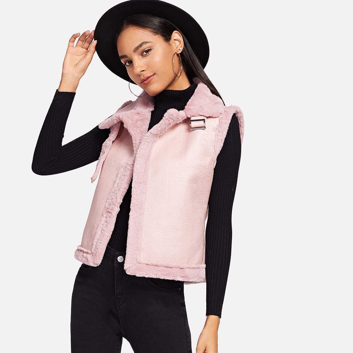 Buckle Strap Detail Faux Shearling Jacket in Pink by ROMWE on GOOFASH