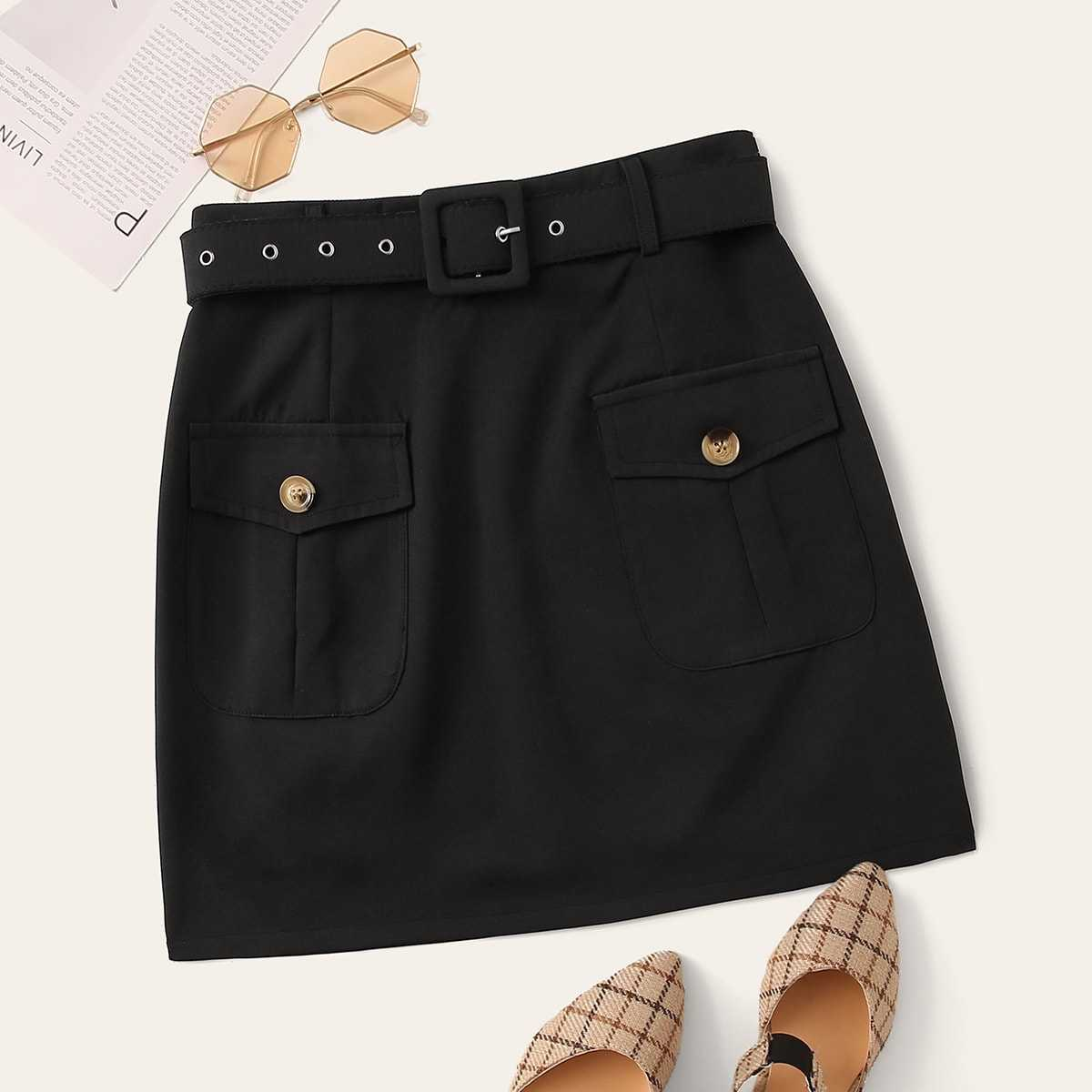 Button Detail Belted Skirt in Black by ROMWE on GOOFASH