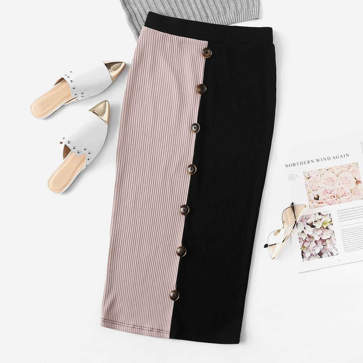 Button Detail Two Tone Ribbed Pencil Skirt in Multicolor by ROMWE on GOOFASH