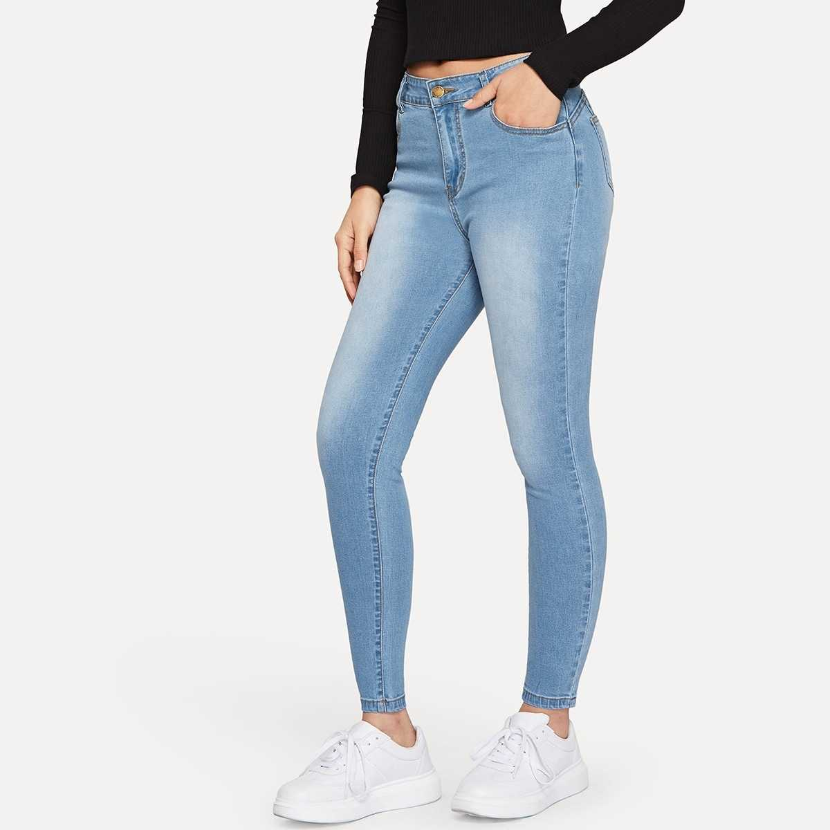 Button Fly Skinny Jeans in Blue by ROMWE on GOOFASH