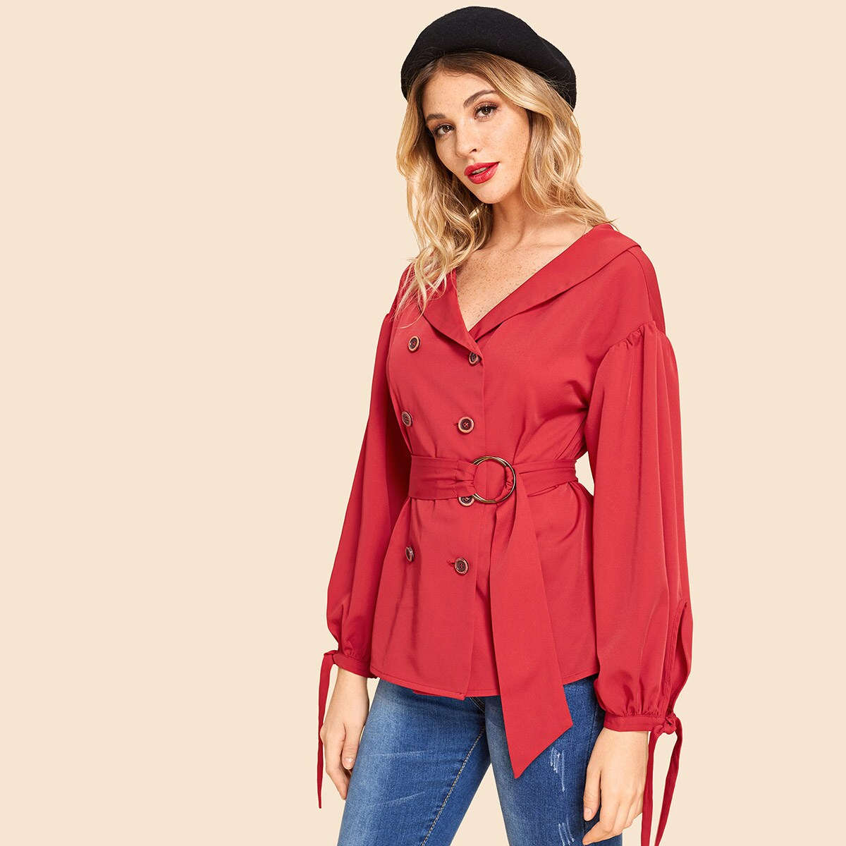 Button Front Bow Cuff Belted Coat - Shein - GOOFASH