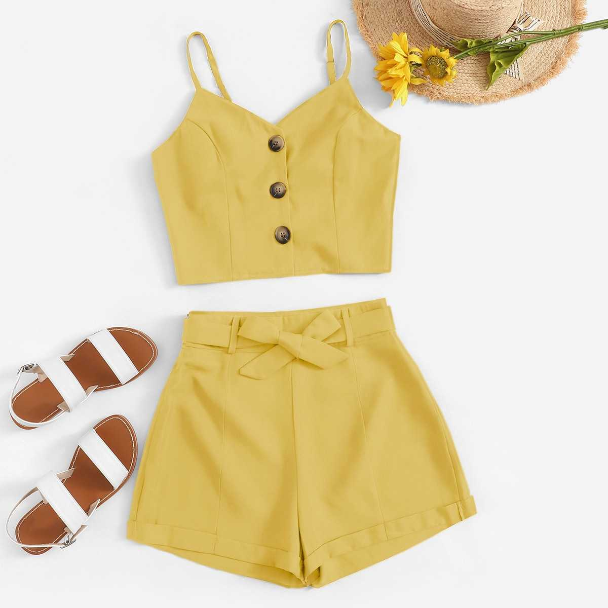 Button Front Crop Cami Top With Shorts in Yellow by ROMWE on GOOFASH