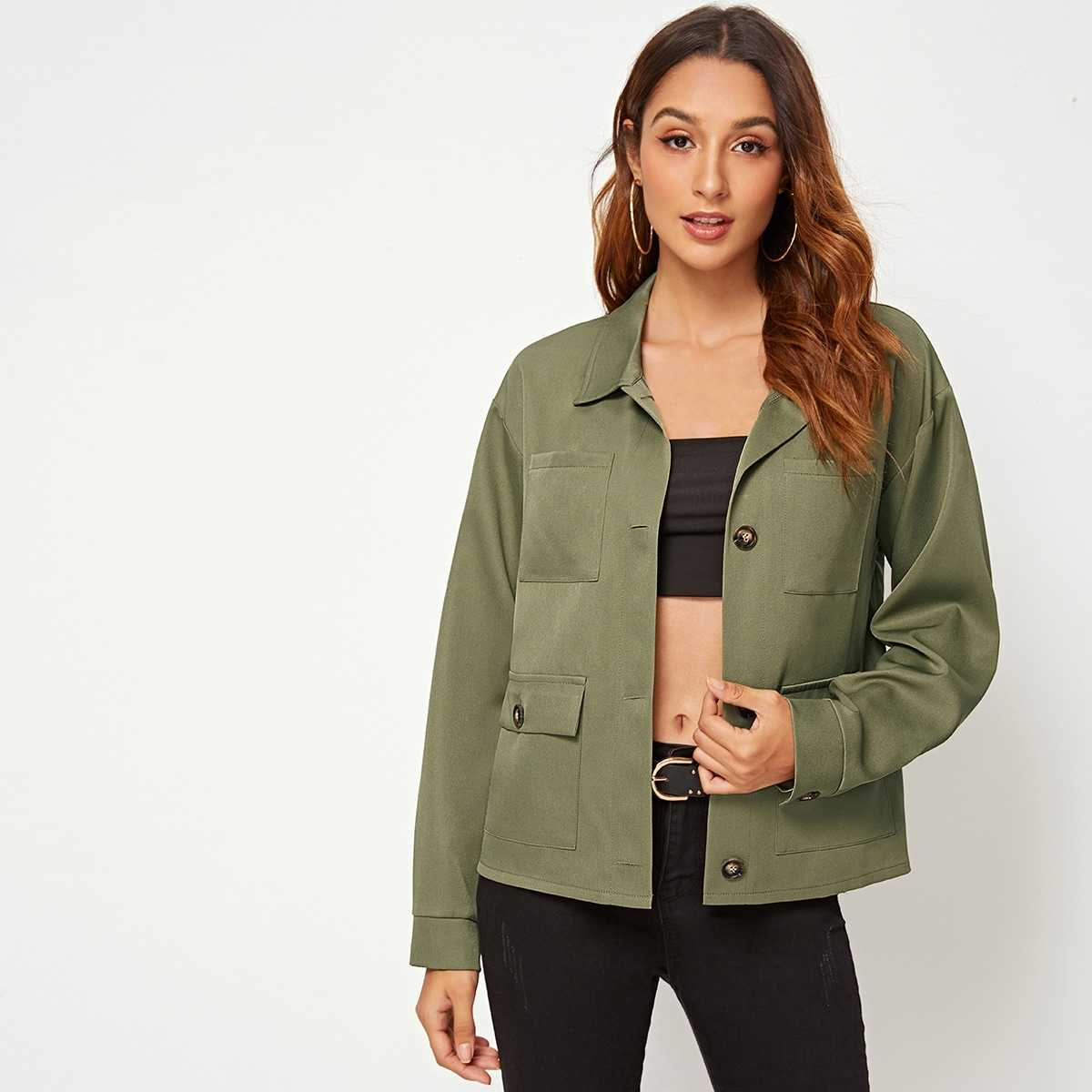Button Front Flap Pocket Belted Jacket in Army Green by ROMWE on GOOFASH
