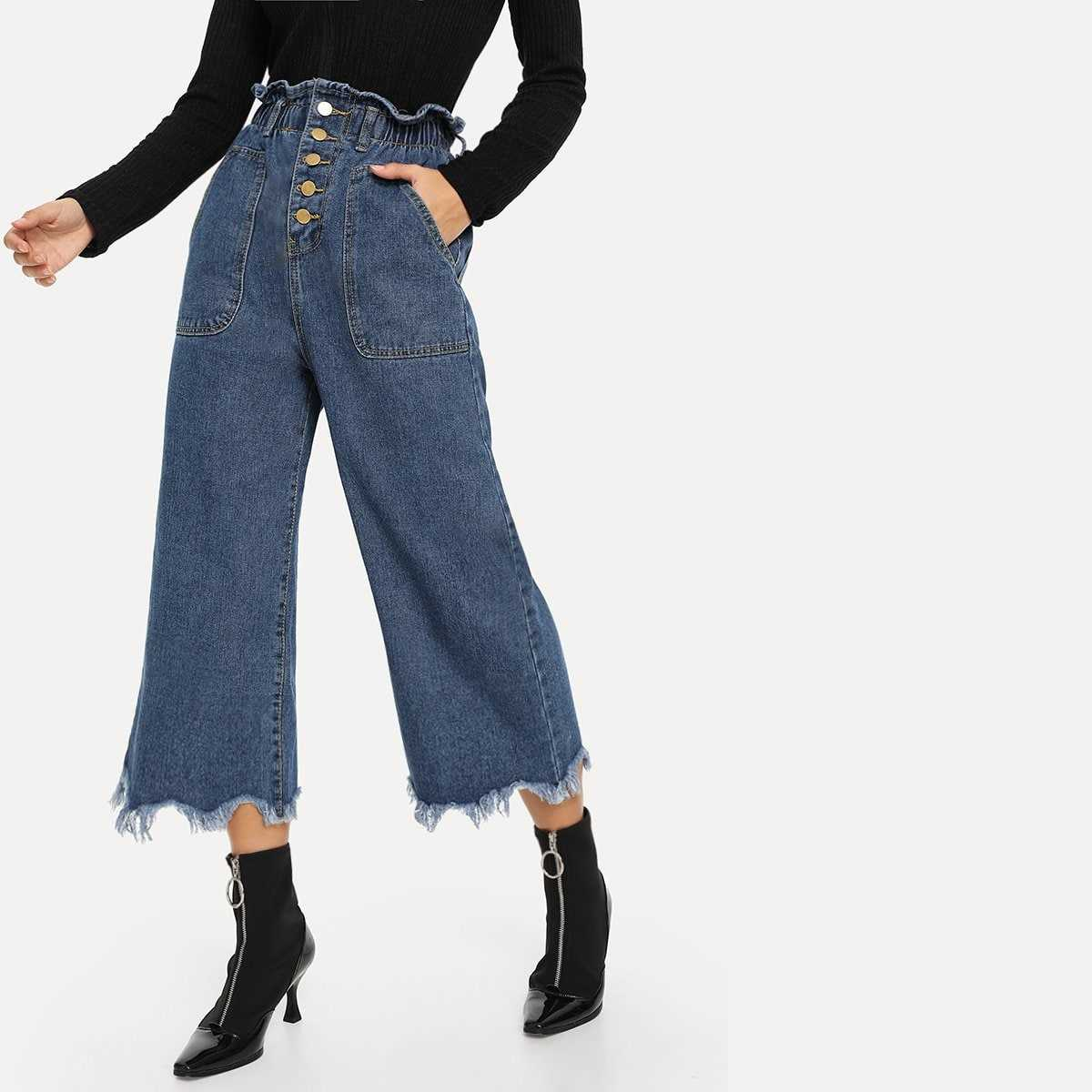 Button Front Frayed Hem Wide Leg Jeans in Blue by ROMWE on GOOFASH