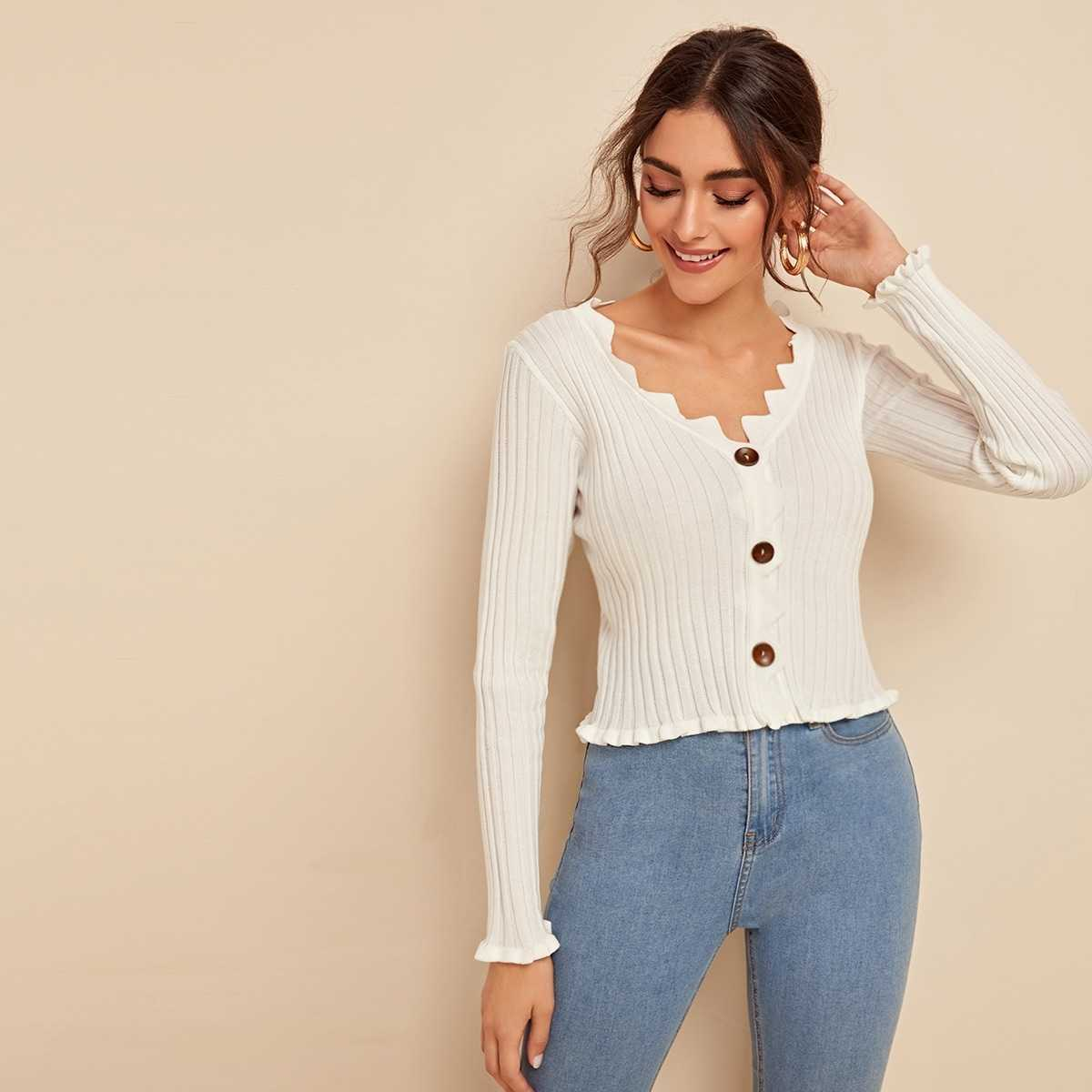 Button Front Frill Trim Rib-knit Sweater in White by ROMWE on GOOFASH